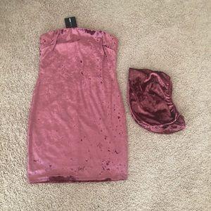 Mauve Velvet 2 Piece Mini Dress Set